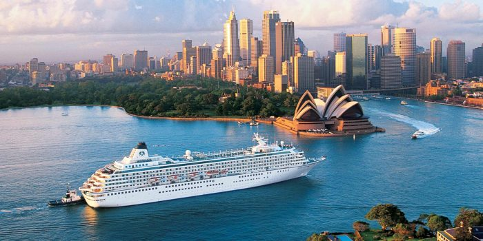 Crystal Cruise ship in sydney harbor in front of the sydney opera house